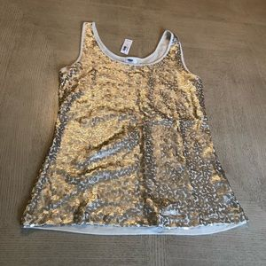 NWT Old Navy tank top with golden sequins